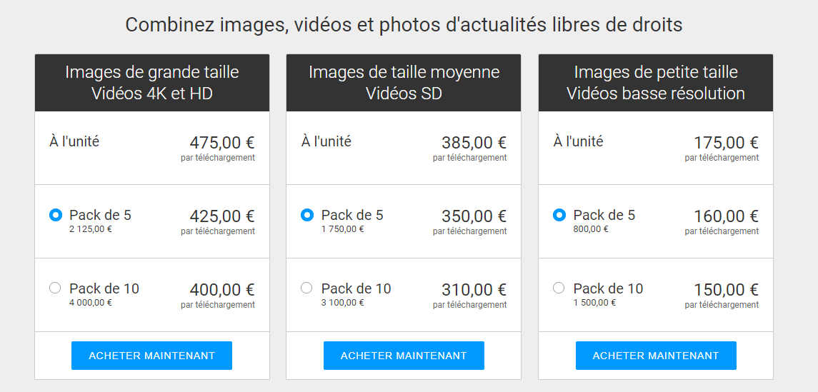 gettyimages tarifs